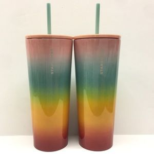 2 Starbucks Ombre Rainbow Tumblers Striped Cold